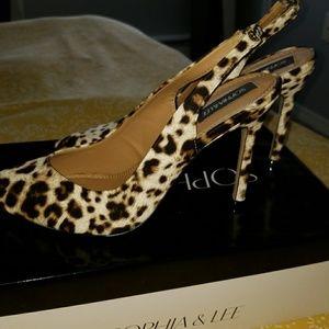 Cheetah print high heel sandals